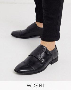 Черные монки из искусственной кожи для широкой стопы ASOS-Черный цвет ASOS DESIGN