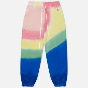 Женские брюки Tie-Dye Straight Fit Loopback Fleece Polo Ralph Lauren. Цвет: синий