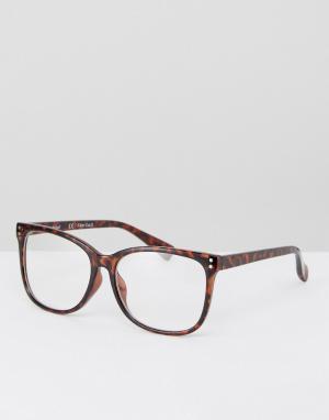 Круглые черепаховые очки с прозрачными стеклами -Коричневый AJ Morgan