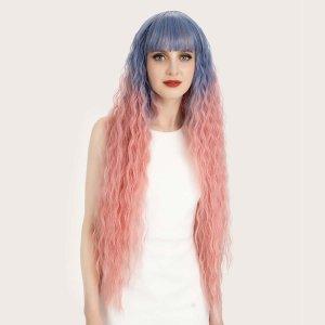 Парик натуральный длинный кудрявые волосы омбре с челкой SHEIN. Цвет: многоцветный