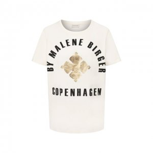 Хлопковая футболка By Malene Birger. Цвет: бежевый
