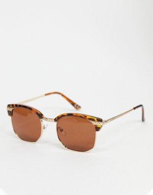 Солнцезащитные очки ретро в стиле 90-х с черепаховой оправой, металлическими дужками и коричневыми линзами -Коричневый цвет ASOS DESIGN