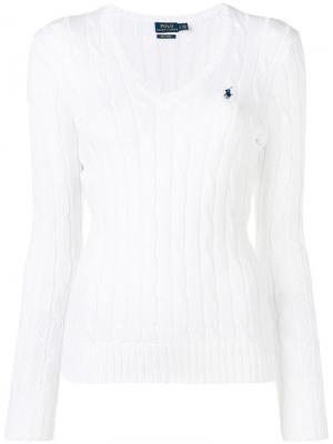 Пуловер фактурной вязки Polo Ralph Lauren. Цвет: белый
