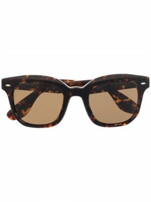 Солнцезащитные очки в квадратной оправе Brunello Cucinelli. Цвет: коричневый