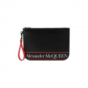 Кожаный клатч Alexander McQueen. Цвет: чёрный