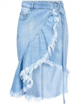 Джинсовая юбка миди Pinko. Цвет: синий