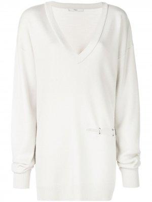 Пуловер с V-образным вырезом и прорезью Tibi. Цвет: белый