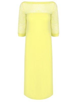 Сорочка с кружевом RITRATTI. Цвет: желтый