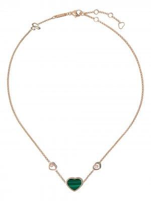 Колье Happy Hearts из розового золота с малахитом Chopard. Цвет: розовый