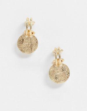 Золотистые разомкнутые серьги-кольца с фактурными монетами -Золотой ASOS DESIGN