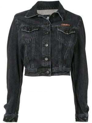 Укороченная джинсовая куртка Marcelo Burlon County of Milan. Цвет: серый