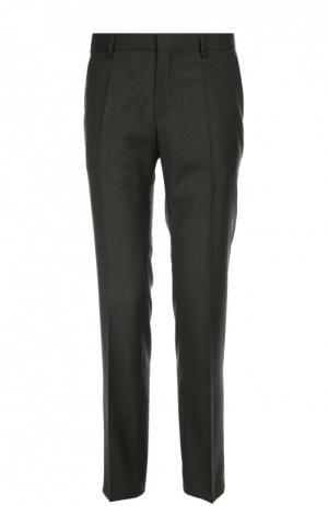 Классические шерстяные брюки в клетку BOSS. Цвет: серый