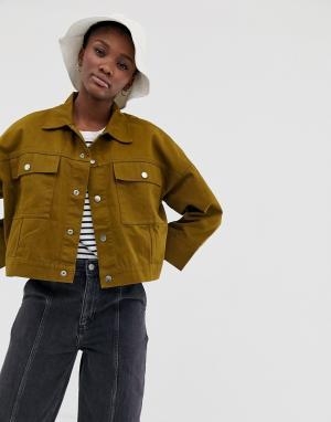 Джинсовая куртка цвета хаки tenille-Зеленый Weekday