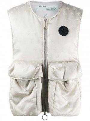 Жилет с карманами и логотипом Off-White. Цвет: серый