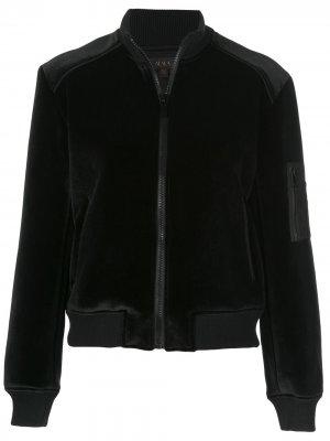 Приталенная куртка-бомбер ALALA. Цвет: черный