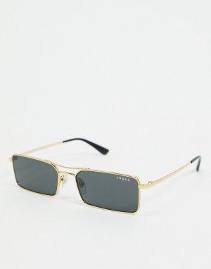 Золотистые солнцезащитные очки в прямоугольной оправе Vogue 0VO4106SM-Золотой