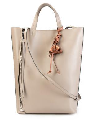 Кожаная сумка-тоут Elena Ghisellini. Цвет: бежевый