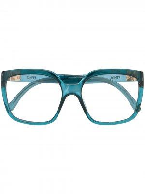 Очки в квадратной оправе Fendi Eyewear. Цвет: синий