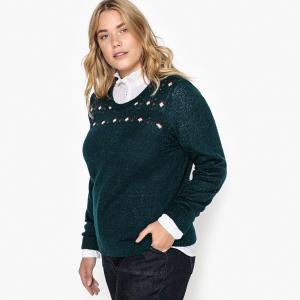 Пуловер с круглым вырезом из тонкого жаккардового трикотажа CASTALUNA. Цвет: жакард