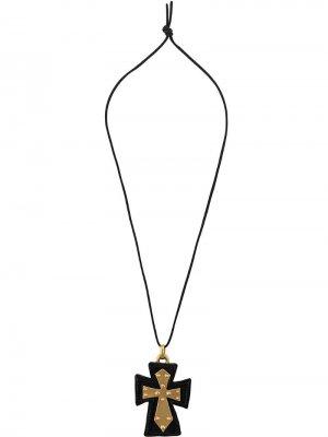 Подвеска Black Cross на шнурке Christian Lacroix Pre-Owned. Цвет: черный
