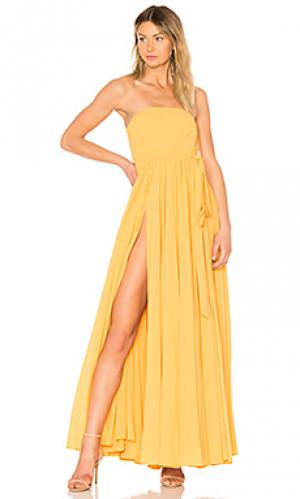 Вечернее платье без бретелек carrie Michael Costello. Цвет: желтый