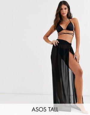 Черная пляжная юбка макси из переработанных материалов с перекрученной отделкой ASOS DESIGN TALL-Черный Tall