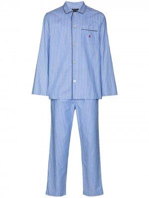 Полосатая пижама Polo Ralph Lauren. Цвет: синий