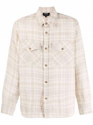 Клетчатая рубашка A.P.C.. Цвет: нейтральные цвета