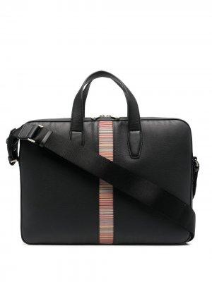 Портфель с контрастной полоской PAUL SMITH. Цвет: черный