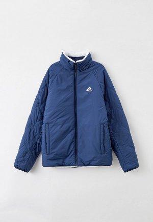 Куртка утепленная adidas REVERSIBLE, SHERP REV JKT. Цвет: синий