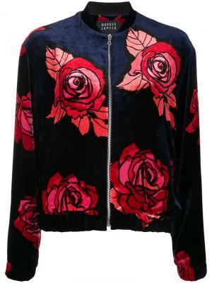 Куртка-бомбер с розами Markus Lupfer. Цвет: синий