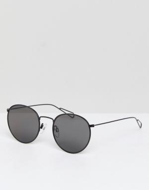 Солнцезащитные очки в круглой оправе Explore Weekday. Цвет: черный