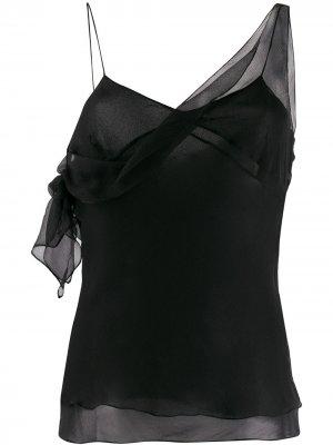 Полупрозрачный топ на бретелях 2000-х годов Christian Dior Pre-Owned. Цвет: черный