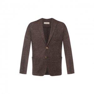 Пиджак из смеси льна и хлопка Altea. Цвет: коричневый