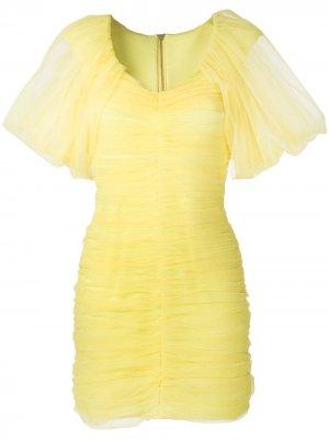 Платье из тюля с драпировкой Gloria Coelho. Цвет: желтый