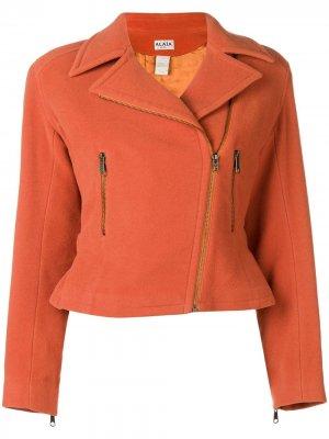 Укороченная куртка с поясом Alaïa Pre-Owned. Цвет: желтый