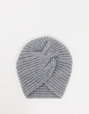 Серая шапка в рубчик -Серый Glamorous