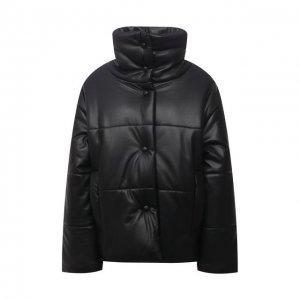 Утепленная куртка из экокожи Nanushka. Цвет: чёрный