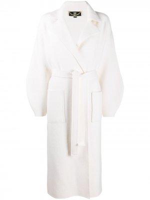 Однобортное пальто с поясом Elisabetta Franchi. Цвет: белый