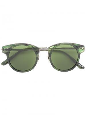 Солнцезащитные очки с оправой кошачий глаз Bottega Veneta Eyewear. Цвет: зелёный