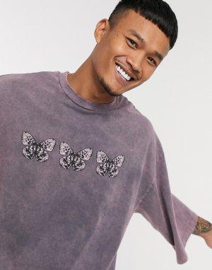 Oversized-футболка с бабочками и эффектом кислотной стирки -Серый ASOS DESIGN