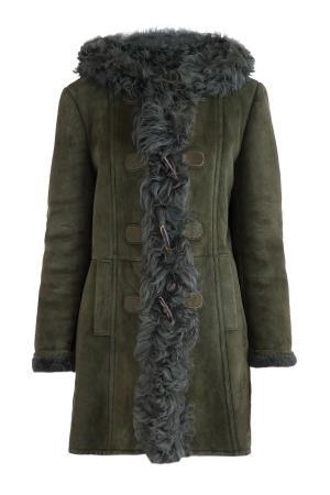 Приталенная дубленка из овчины с объемным мехом ягненка GUCCI. Цвет: зеленый