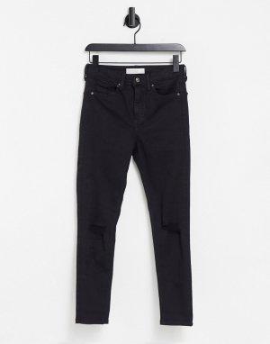 Черные джинсы со рваной отделкой Jamie-Черный цвет Topshop