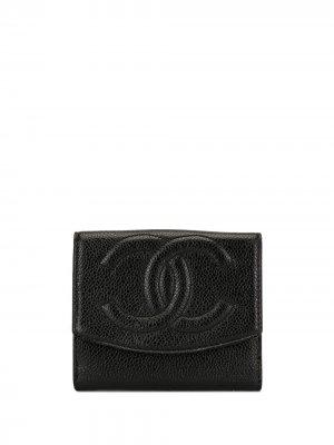 Бумажник с логотипом CC Chanel Pre-Owned. Цвет: черный