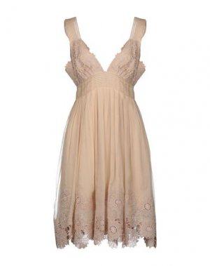 Короткое платье CATHERINE MALANDRINO. Цвет: бежевый