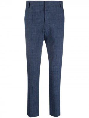 Клетчатые брюки строгого кроя Daniele Alessandrini. Цвет: синий