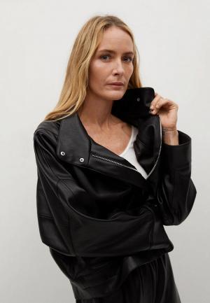 Куртка кожаная Mango - SOUL. Цвет: черный