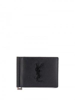 Зажим для денег YSL логотипом Saint Laurent. Цвет: черный
