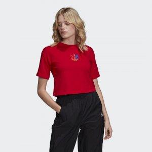 Кроп-топ Adicolor 3D Trefoil Originals adidas. Цвет: разноцветный
