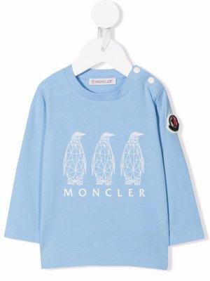Футболка с логотипом Moncler Enfant. Цвет: синий